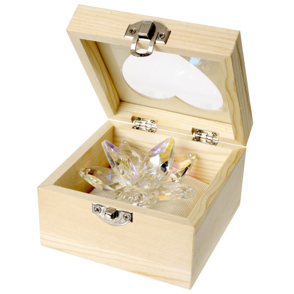 Crystal Lotus In Wooden Gift Box # DC4115