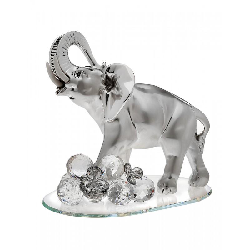 Italian 925 Silver Argento Elephant Figurine w.Swarovski Crystal #18183